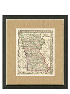 "Mitchell-Antique Map of Iowa & Missouri, 1860's-1870's, 21"" x 23"""