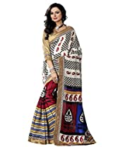 Riti Riwaz off white Bhagalpuri Silk Casual Saree with Unstitched Blouse NRV6507A