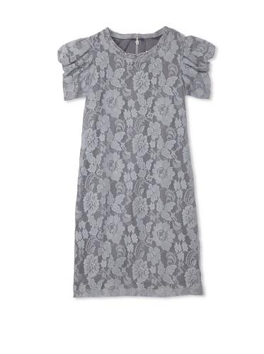 Blush by US Angels Girl's Puff Sleeve Dress (Grey)