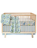 Skip Hop 4 Piece Bumper free Crib Bedding Set Moving Gears