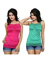 Alba Women's Camisole (Pack Of 2) (CC054MRG_Magenta / Rama Green_Large)
