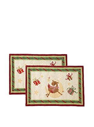 C & F Enterprises Set of 2 Reindeer Whimsy #1 Hooked Rugs