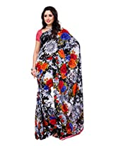 Ambaji Black & White Coloured Renial Georgette Printed Saree