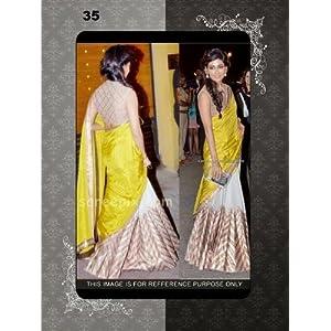 Bollywood Divas Georgette Yellow Stylish Saree Lehenga