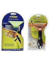 FURminator Deshedding Tool and FurVac Comb for Medium Dogs with Long Hair