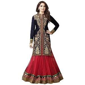 Bipasha Basu Navy Blue & Pink Anarkali Suit