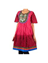 Mruga Womens Cotton Maroon 38 Kurta