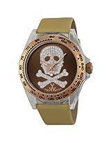 Toy Watch Brown Dial Champagne Satin Strap Unisex Watch (S07BROS)