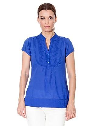 Cortefiel Bluse Mao Kragen (Blau)