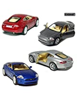 Set of 4: 5 Jaguar XK Coupe 1:38 Scale (Blue/Grey/Red/Silver)