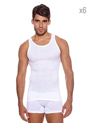 Ocean Pack x 6 Camisetas Tirante Ancho (Blanco)