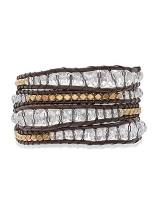 Lucie & Jade Echtleder-Armband Metallbeads, Glaskristall dunkelbraun/gold/weiß