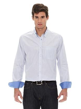 Turrau Camisa Cuadro Pequeño Bicolor Bolsillo (Gris / Azul)