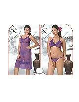 Indiatrendzs Women's Sexy Hot Nighty Light Purple 3pc Set Bedroom Sleepwear Freesize