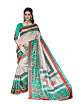 Turquoise Green & Grey Colour Faux Bhagalpuri Semi Party Wear Floral Printed Saree 13332