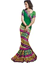 Faux Georgette Saree in Green Colour for Casual Wear