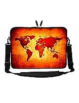 Meffort Inc 17 17.3 inch Neoprene Laptop Sleeve Bag Carrying Case with Hidden Handle and Adjustable Shoulder Strap - World Map