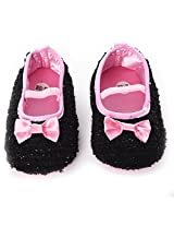 Baby Bucket First Walking Baby Girl's Black Color Party Wear Booties Set
