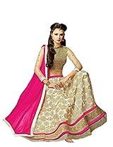 Suchi Fashion Cream & Beige Net Semi Stitched Anarkali Suit/ Lehenga