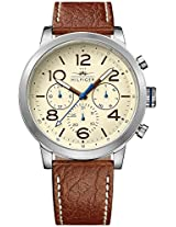 TOMMY HILFIGER Jake Multifunction Beige Dial Brown Leather Men's Watch - TH1791230J
