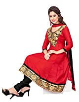 Khushali Women's Semi Cotton Unstitched Anarkali Salwar Suit (red)