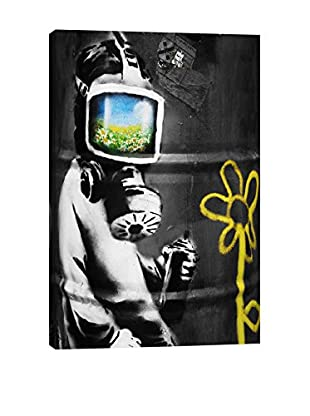 Banksy Sunflower Field Gas Mask Girl Black & White Giclée On Canvas