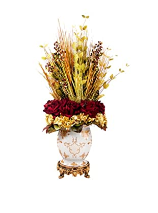 Creative Displays Burgundy & Gold Grass, Rose, & Hydrangea in Oriental Urn, 19x40x22