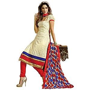 Fabdeal Off White Colored Brasso Un-Stitched Dress Material