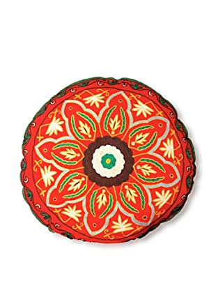 Modelli Creations Hand Embroidered Crewel Work Floor Pillow (Red/Multi)