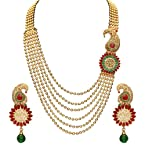 Sukkhi Emerald Ruby Six String Gold Plated Blossomy Necklace Set