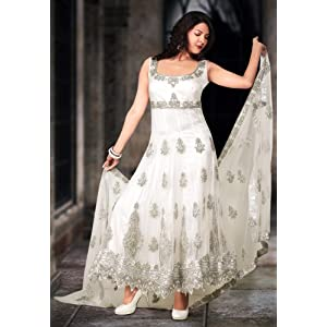 White Net Readymade Anarkali Churidar Kameez
