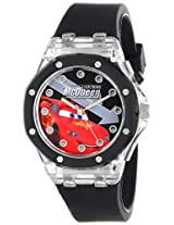 Disney Kids' CZ1072 Lightning McQueen Flashing-Dial Watch with Black Rubber Band