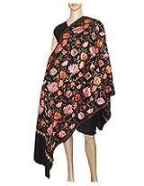 Indian Fashion Guru  Black  gift  woolen shawls  stoles  Flower design  Embroidery shawls
