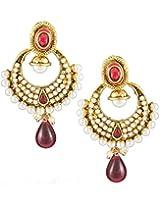 Karatcart 22K Goldplated Pink Stone Dangle Earrings for Women.
