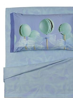 Ipersan Completo fotografico Fine-Art Disegno Macarons Parisiens azzurro singolo