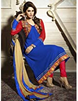 Aarna Designer Semi Stitched Blue Suit For Women