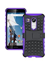 Chevron Tough Hybrid Armor Back Cover Case with Kickstand for LG Nexus 5X (Purple)