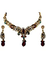 Vivanta Multi-Coloured Gold Plated Necklace And Earrings Set For Women (VD-N119)