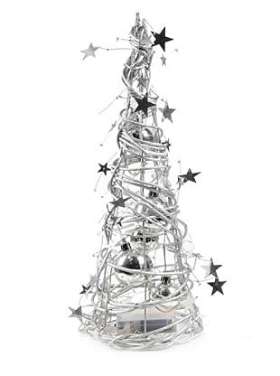 Árbol Navidad Con Luz Plata