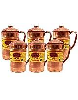 "IndianCraftVilla 6.5"" X 4.0"" Handmade 100% Pure Copper Set of 6 Luxury Jug Pitcher Volume 1.3 Liter With Lid Storage Drinking Water for Good Health Benefits Yoga, Ayurveda"