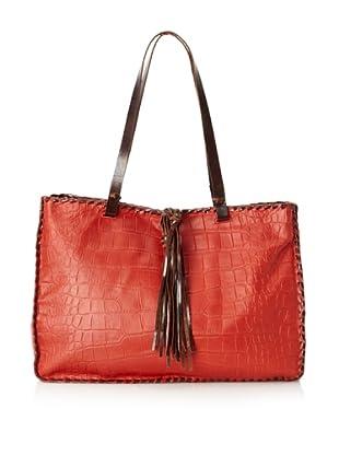 Carla Mancini Women's Stitched Shoulder Bag (Red Croco)