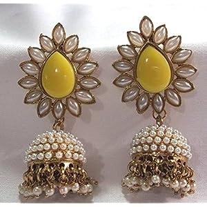 Aashiqui 2 earrings yellow polki pearls jhumka earrings