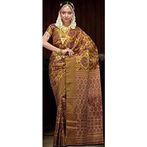 Golden and Burgundy Kanchipuram Pure silk Saree with Blouse