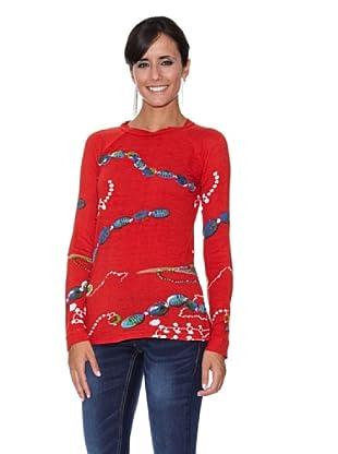 Peace & Love Camiseta Estampada (Coral)