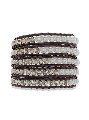 Lucie & Jade Echtleder-Armband Imitationsperle, Kunststoffbeads  dunkelbraun/weiß/silber
