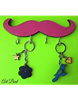 ART BEAT PINK MUSTACHE KEY HOOK