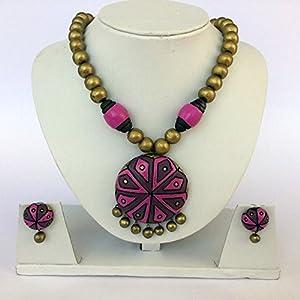 Anikalan Designs Multibead Purple Moon Pendant Terracotta Necklace Set