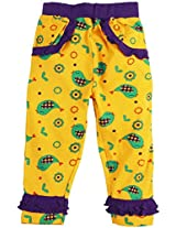 Snuggles Legging With Frill Sparrow Print - Spectra Yellow (0-3M)