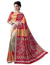 Inddus Women Multi Colored Bhagalpuri Printed Sari