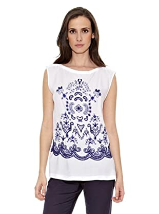 Cortefiel Camiseta Print Bordado (Blanco)